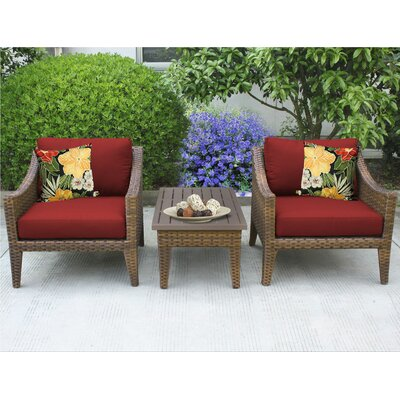 Manhattan 3 Piece Lounge Seating Group with Cushion Fabric: Terracotta