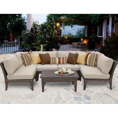 Manhattan 7 Piece Sectional Seating Group with Cushion Fabric: Beige