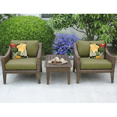 Manhattan 3 Piece Lounge Seating Group with Cushion Fabric: Cilantro
