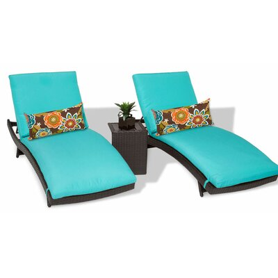 Bali 3 Piece Chaise Lounge Set with Cushion Color: Aruba