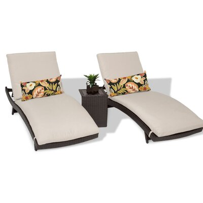 Bali 3 Piece Chaise Lounge Set with Cushion Color: Beige