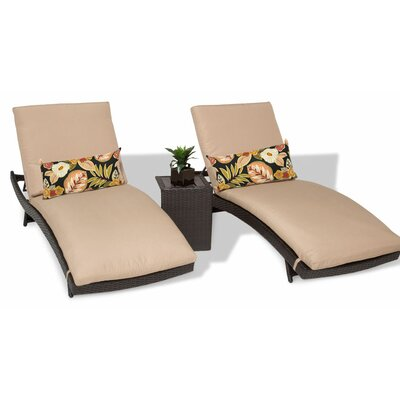 Bali 3 Piece Chaise Lounge Set with Cushion Color: Wheat