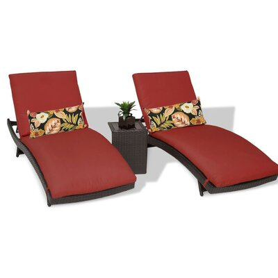 Bali 3 Piece Chaise Lounge Set with Cushion Color: Terracotta