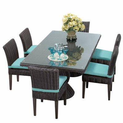 Venice 9 Piece Dining Set with Cushions Cushion Color: Navy