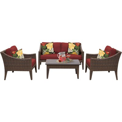 Manhattan 5 Piece Deep Seating Group with Cushion Fabric: Terracotta