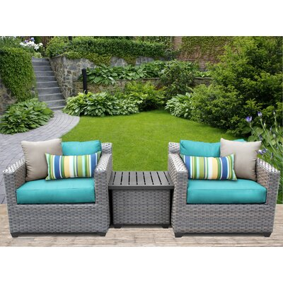 Florence 3 Piece Lounge Seating Group with Cushion Fabric: Aruba
