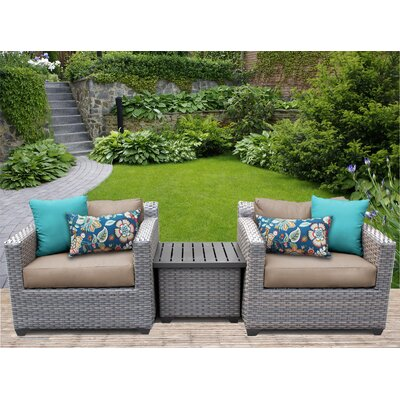 Florence 3 Piece Lounge Seating Group with Cushion Fabric: Wheat