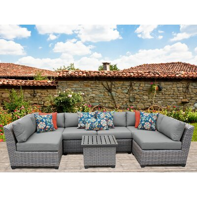 Florence 7 Piece Sectional Seating Group with Cushion Fabric: Gray