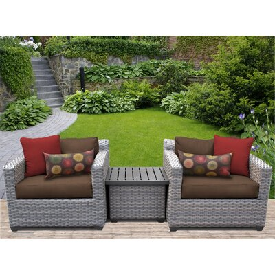 Florence 3 Piece Lounge Seating Group with Cushion Fabric: Cocoa