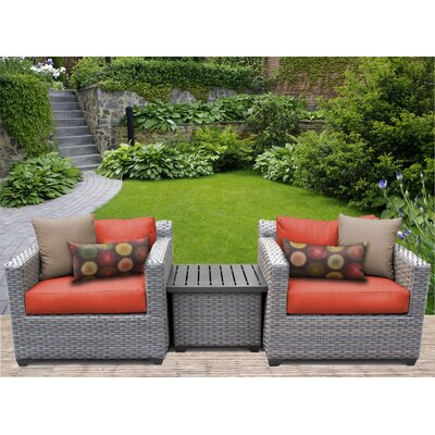 Florence 3 Piece Lounge Seating Group with Cushion Fabric: Tangerine