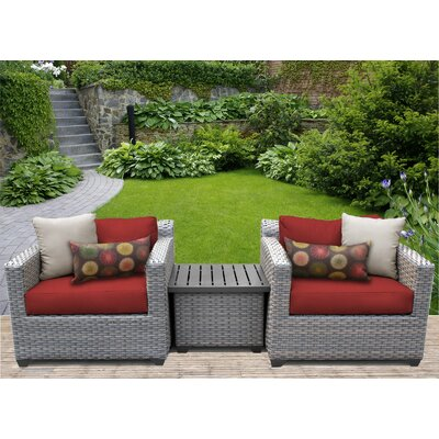 Florence 3 Piece Lounge Seating Group with Cushion Fabric: Terracotta