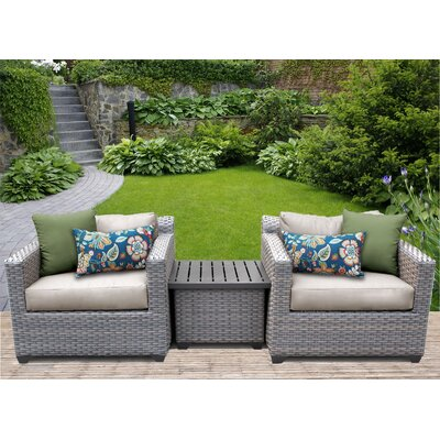 TK Classics Florence 3 Piece Rattan Conversation Set with Cushions Fabric: Beige