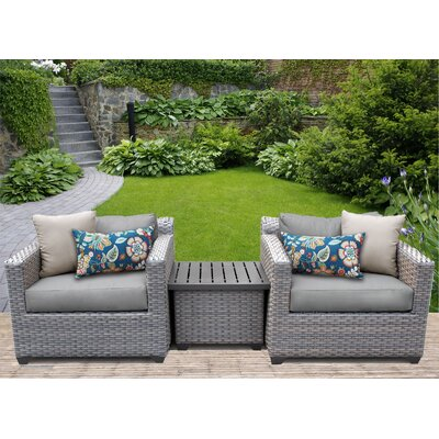 Florence 3 Piece Lounge Seating Group with Cushion Fabric: Gray