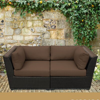 Barbados Outdoor Wicker Patio 2 Piece Deep Seating Group with Cushion Fabric: Cocoa