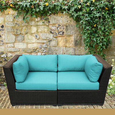 Barbados Outdoor Wicker Patio 2 Piece Deep Seating Group with Cushion Fabric: Aruba