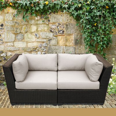 Barbados Outdoor Wicker Patio 2 Piece Deep Seating Group with Cushion Fabric: Beige