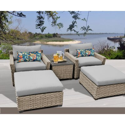 Monterey 5 Piece Deep Seating Group with Cushion Fabric: Grey