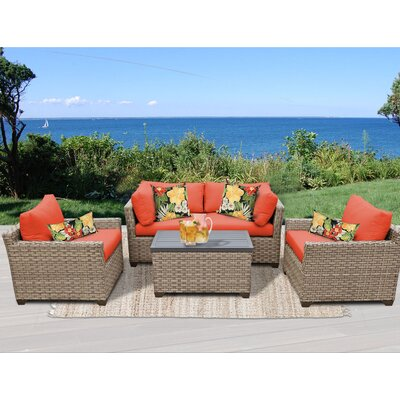 Monterey 5 Piece Deep Seating Group with Cushion Fabric: Tangerine