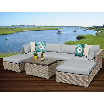 Monterey 7 Piece Sectional Seating Group with Cushion Fabric: Grey