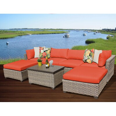 Monterey 7 Piece Sectional Seating Group with Cushion Fabric: Tangerine