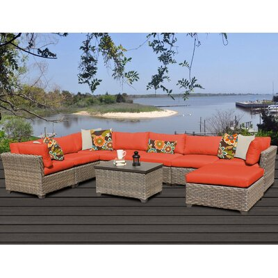 Monterey 9 Piece Sectional Seating Group with Cushion Fabric: Tangerine