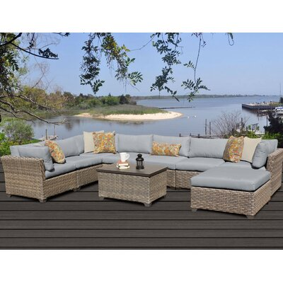 Monterey 9 Piece Sectional Seating Group with Cushion Fabric: Grey