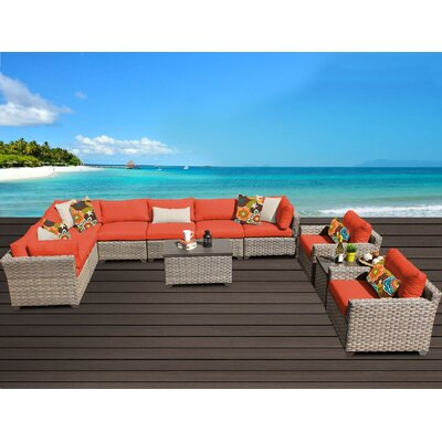 Monterey 11 Piece Sectional Seating Group with Cushion Fabric: Tangerine