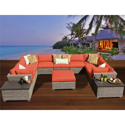 Monterey 12 Piece Sectional Seating Group with Cushion Fabric: Tangerine