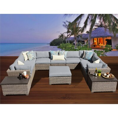 Monterey 12 Piece Sectional Seating Group with Cushion Fabric: Grey