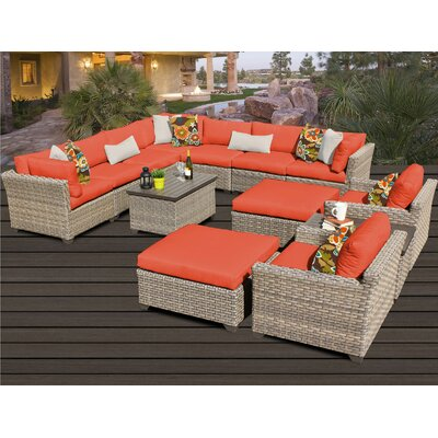 Monterey 13 Piece Sectional Seating Group with Cushion Fabric: Tangerine