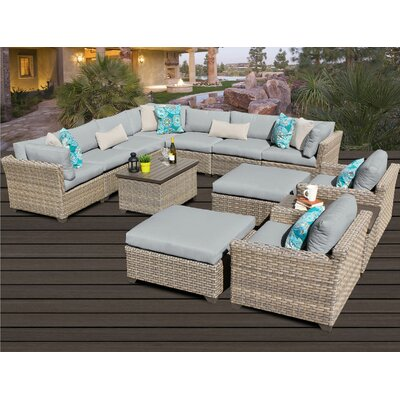 Monterey 13 Piece Sectional Seating Group with Cushion Fabric: Grey