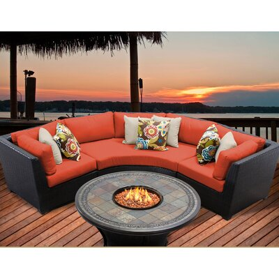Barbados 4 Piece Fire Pit Seating Group with Cushion Fabric: Tangerine