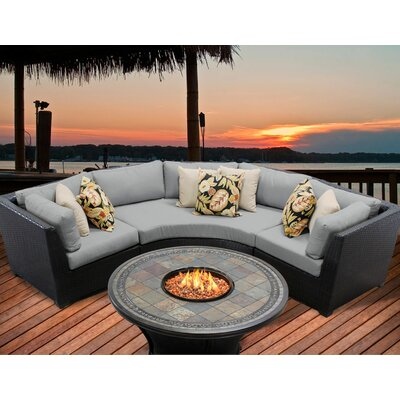 Barbados 4 Piece Fire Pit Seating Group with Cushion Fabric: Grey
