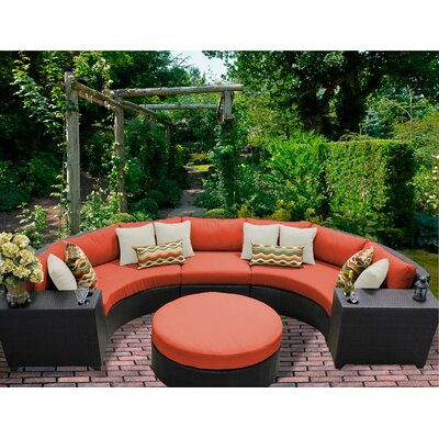 Barbados 6 Piece Sectional Seating Group with Cushion Fabric: Tangerine