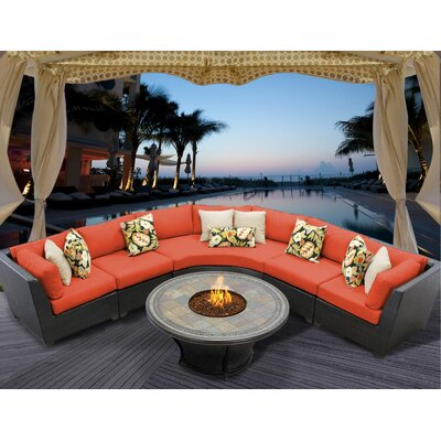 Barbados 6 Piece Fire Pit Seating Group with Cushion Fabric: Tangerine