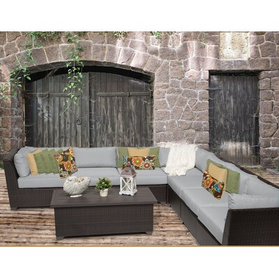 Barbados 8 Piece Sectional Seating Group with Cushion Fabric: Grey