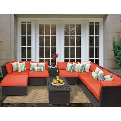 Barbados 10 Piece Sectional Seating Group with Cushion Fabric: Tangerine