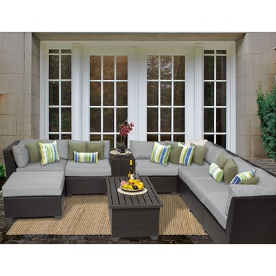 Barbados 10 Piece Sectional Seating Group with Cushion Fabric: Grey