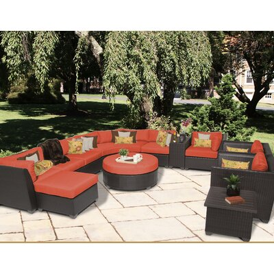 Barbados 12 Piece Sectional Seating Group with Cushion Fabric: Tangerine