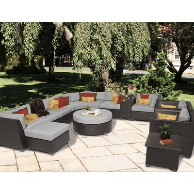 Barbados 12 Piece Sectional Seating Group with Cushion Fabric: Grey