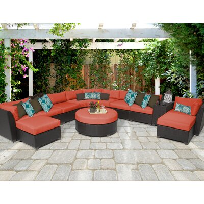 Barbados 11 Piece Sectional Seating Group with Cushion Fabric: Tangerine