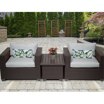 Belle 3 Piece Deep Seating Group with Cushion Fabric: Grey