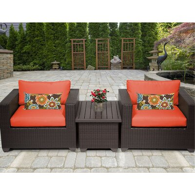 Belle 3 Piece Deep Seating Group with Cushion Fabric: Tangerine