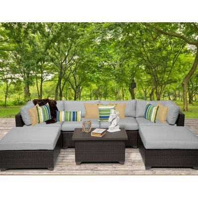 Belle 7 Piece Sectional Seating Group with Cushion Fabric: Grey