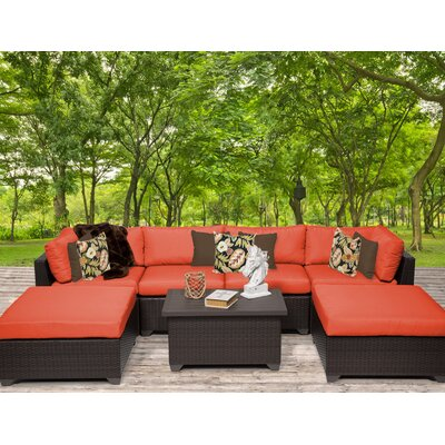 Belle 7 Piece Sectional Seating Group with Cushion Fabric: Tangerine