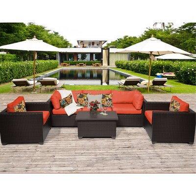 Belle 6 Piece Deep Seating Group with Cushion Fabric: Tangerine