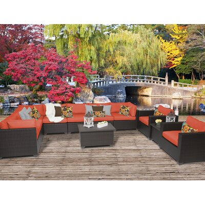 Belle 11 Piece Sectional Seating Group with Cushion Fabric: Tangerine