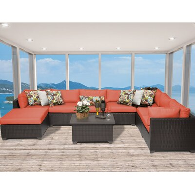 Belle 9 Piece Sectional Seating Group With Cushion Fabric: Tangerine
