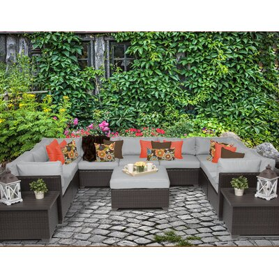 Belle 12 Piece Sectional Seating Group with Cushion Fabric: Grey