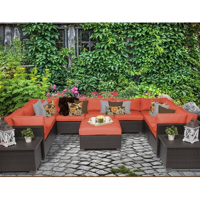 Belle 12 Piece Sectional Seating Group with Cushion Fabric: Tangerine